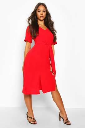 boohoo Ruffle Sleeve Belted Midi Dress