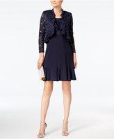 R & M Richards Petite Metallic Dress & Ruffled Jacket
