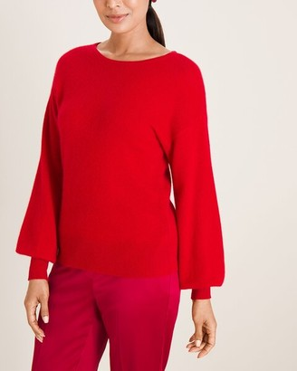 Chico's Cashmere Bishop-Sleeve Sweater