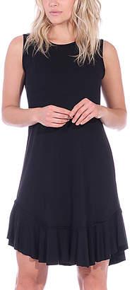 Brooke & Emma Women's Casual Dresses BLACK - Black Ruffle-Hem Sleeveless Dress - Women & Plus
