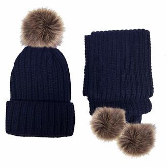 DINZIO Women Girls Knitted Detachable Faux Fur Pom Pom Hat and Scarf Set