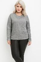 Forever 21 FOREVER 21+ Plus Size Marled Rhinestone Sweatshirt