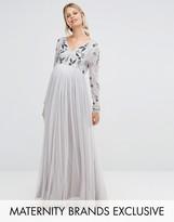 Maya Maternity Long Sleeve Embellished Bodice Maxi Dress With Tulle Skirt
