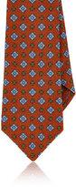 Kiton Men's Diamond & Flower Woven Cashmere Necktie-ORANGE