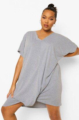 boohoo Plus Oversized Knot Front Jersey Tee Dress