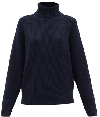 Gabriela Hearst Wigman Roll-neck Ribbed Cashmere Sweater - Navy