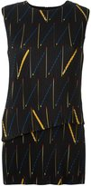 Victoria Beckham abstract print ribbed top - women - Silk/Polyester/Acetate - 38