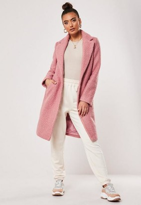 Missguided Pink Boucle Slim Formal Coat