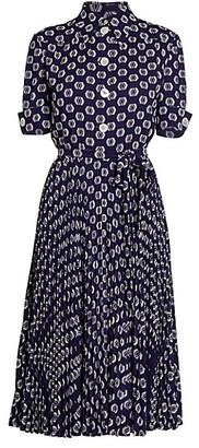 Prada Jacquard Pleated Midi Dress