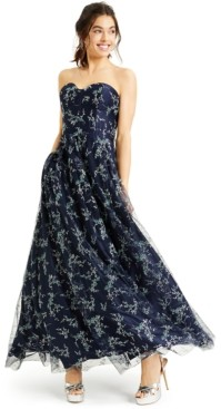 Blondie Nites Juniors' Strapless Corset Glitter Gown, Created for Macy's
