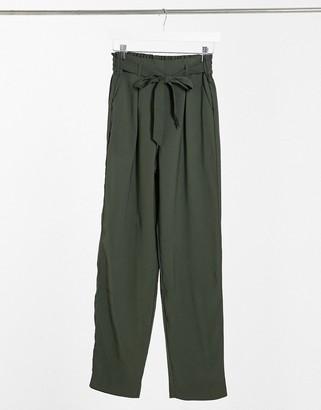 JDY Sabina tie waist tapered trouser in khaki