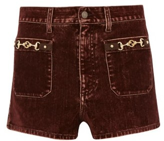 Gucci Gg Horsebit Hardware Denim Shorts - Mens - Brown