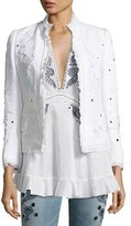 Roberto Cavalli Floral Frayed Linen Jacket, White
