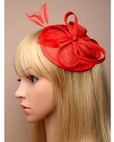Inca Red Fascinator on Headband/ Clip-in for Weddings, Races and Occasions-5347