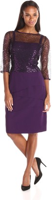 Le Bos Women's Sequin Top Crepe Skirt Tiered Dress
