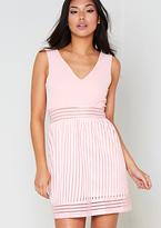Missy Empire Elexas Pink Ribbed Sheer Detail Skater Dress