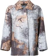 Alberta Ferretti stained metallic effect coat