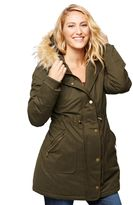 A Pea in the Pod Faux Fur Hooded Maternity Coat