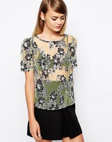 The Laden Showroom X Love Lee Floral Burn Out Top