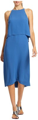 Halston Cascade Back Dress (Aegean) Women's Clothing