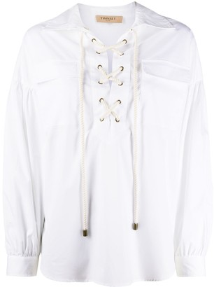 Twin-Set lace-up loose-fit blouse