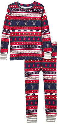 Hatley Fair Isle Stags Organic PJ Set (Toddler/Little Kids/Big Kids) (Red) Boy's Pajama Sets