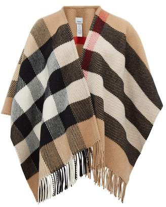 Burberry Oversized-check Wool-blend Poncho - Womens - Camel Check