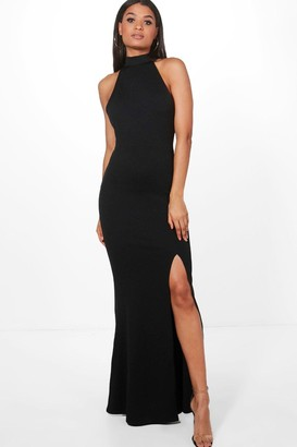 boohoo High Neck Split Leg Maxi Bridesmaid Dress