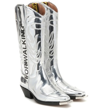 Off-White For Walking metallic leather boots