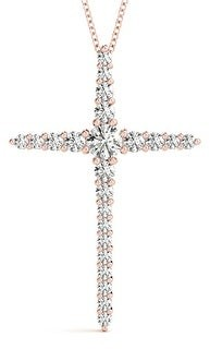 14KT 1.00 CT Graduated Round Diamond Cross Pendant Necklace Amcor Design