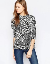 B.young Animal Print 3/4 Sleeve Top