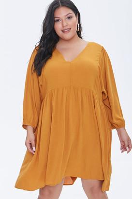 Forever 21 Plus Size Peasant-Sleeve Mini Dress