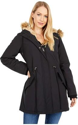 Levi's Arctic Cloth Parka with Hood (Black/Black) Women's Coat
