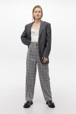Urban Outfitters Ellie Lilac Check Paperbag Waist Trousers - Black XS at