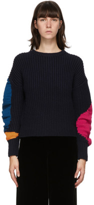 Enfold Navy Crumply Motif Sweater