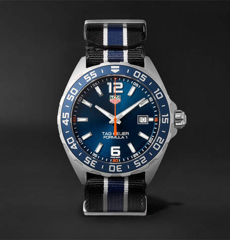 Tag Heuer Formula 1 43mm Stainless Steel and NATO Webbing Watch - Men - Blue