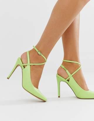 Asos Design DESIGN Priceless square toe stiletto heels in washed neon green
