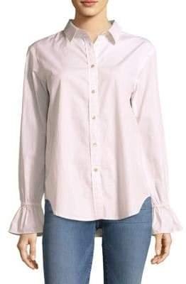 Frame Bell-Sleeve Cotton Button-Down Shirt