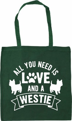 Hippowarehouse All you need is love and a Westie West Highland Terrier Tote Shopping Gym Beach Bag 42cm x38cm 10 litres