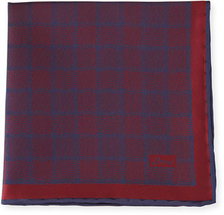 Brioni Plaid Silk Pocket Square