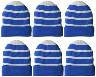 Clementine Apparel Men's CLM-SM-STC31-Striped Beanie with Solid Band (6 PK)