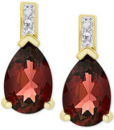 Macy's Rhodolite Garnet (3-5/8 ct. t.w.) & Diamond Accent Drop Earrings in 14k Gold-Plated Sterling Silver
