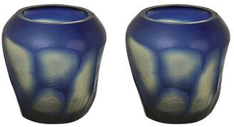 "Aspen Creative Corporation Aspen Creative Blue Glass Votive Candle Holder 3-1/2"" Diameter x 3-1/2"" Height, 2 Pack"