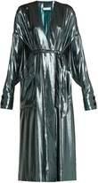 WANDA NYLON V-neck belted side-slit silk-blend dress