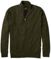 Forest Green Cotton Cashmere Zip Neck Jumper