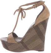 Burberry Suede House Check Wedges