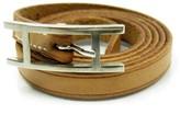 Hermes Silver Tone Metal Brown Leather Bracelet