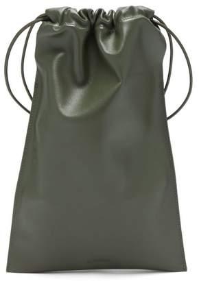 Jil Sander Drawstring Leather Cross-body Bag - Womens - Khaki