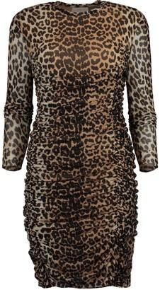 Ganni Leopard Print Ruched Dress