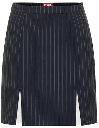 STAUD Liv striped crepe skirt